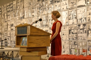 I want to bring this kind of joy to my Forest Avenue authors; this photo of me was taken during our Jan. 7 Powell's reading.