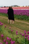models in tulip field