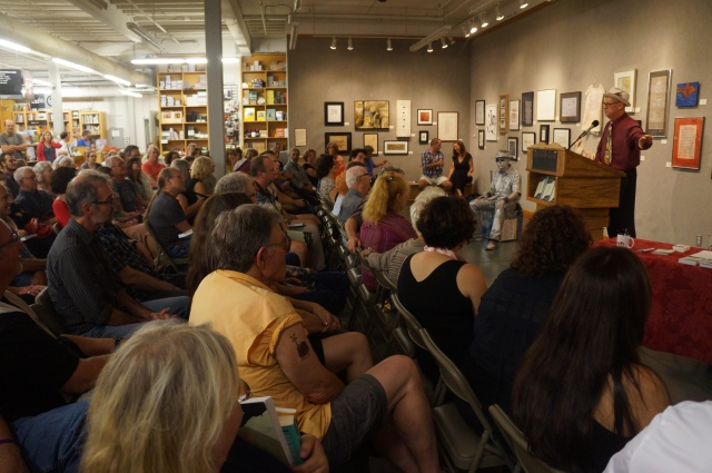Stevan Allred addresses the crowd during the Q and A session on Sept. 12 at Powell's City of Books in downtown Portland, Oregon