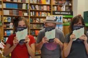 I met Stevan Allred and Gigi Little, our graphic designer, at Powell's to celebrate before the official launch reading.