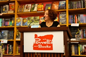 Cari Luna reads from her new novel at Powell's Hawthorne, where she attracted an overflow crowd.