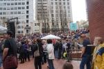 Pioneer Courthouse Square, packed for the festivities.